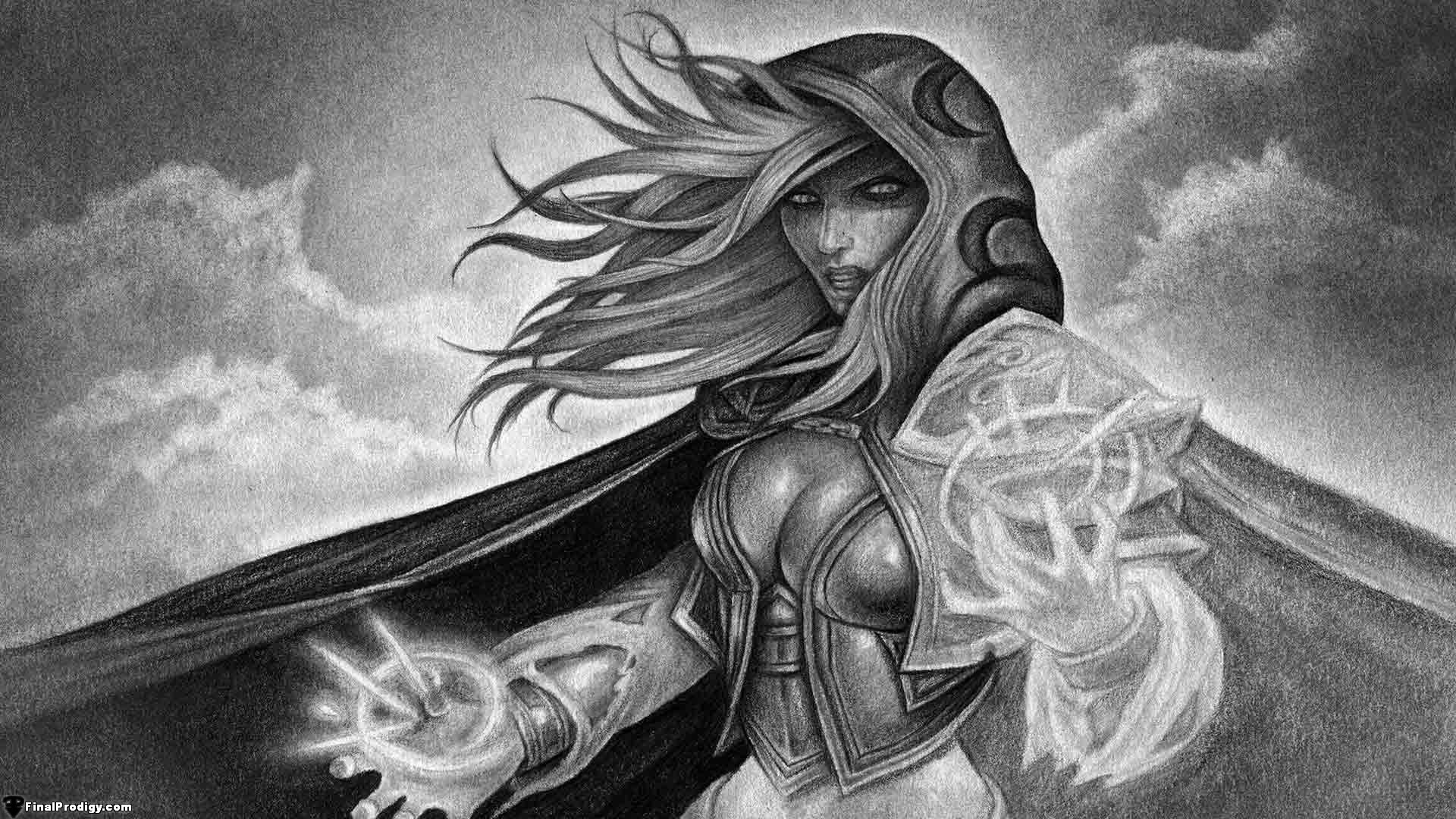 Scribble Drawing Definition : How to draw jaina proudmoore from world of warcraft