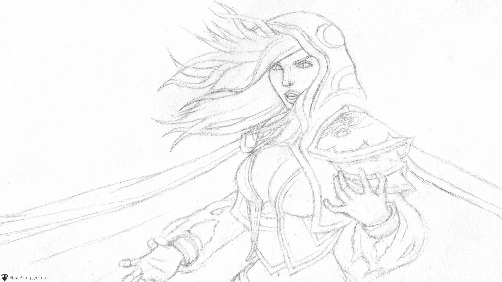 How to draw jaina proudmoore from world of warcraft for Line drawing wallpaper